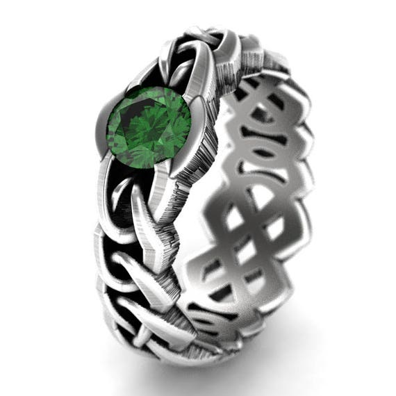 Celtic Cut-Through Quaternary Knot Design Ring  Emerald in Sterling SIlver, 10K 14K 18K or Platinum Made in Your Size Cr-1066c