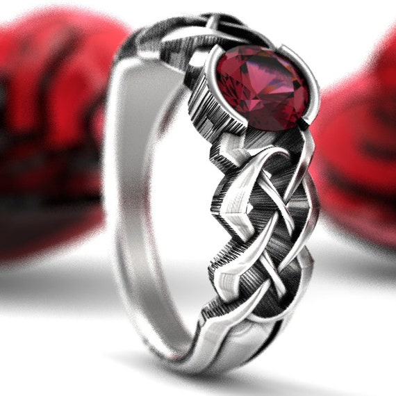 Celtic Garnet Engagement Ring With Personalized Ring Size in Dara Knot Design in Sterling Silver, Handmade Gift CR-414