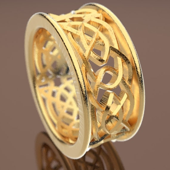 Celtic Wedding Ring With Intricate Swirl Cut-Through Knotwork Design Made in 10K 14K 18K Gold or Platinum, Made in Your Size Cr-111