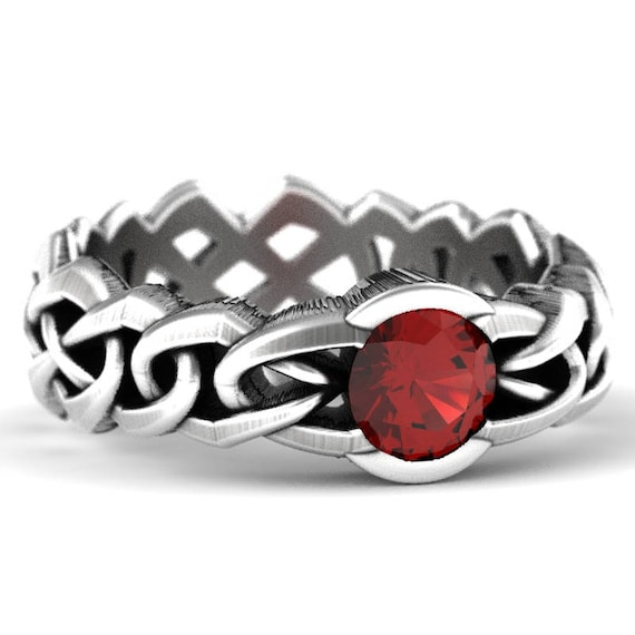 Celtic Cut-Through Quaternary Knot Design Ring with Ruby in Sterling SIlver, 10K 14K 18K Platinum, or Palladium, Made in Your Size Cr-1066c