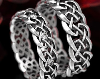 Sterling His Her Celtic Knot of Protection Wedding Band Set, Sterling Silver Knotwork, Celtic Wedding Band, Matching Wedding Rings 1356 1357