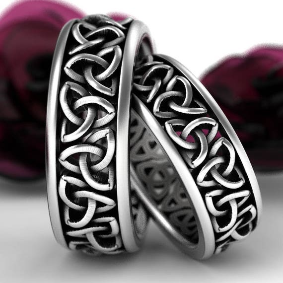 Celtic Wedding Ring Set With Cut-Through Trinity Knot Design in Sterling Silver, Made in Your Size CR-200