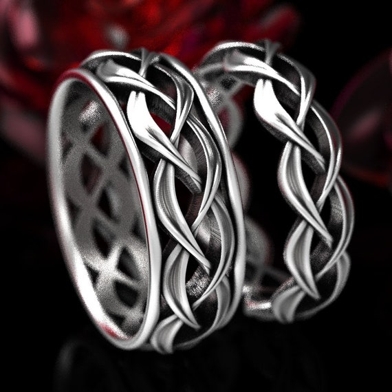 His & Hers Wedding Ring Set, Celtic Woven Wedding Ring Set in Sterling Silver, Matching His and Hers Wedding Bands, Celtic Wedding 1328 1329
