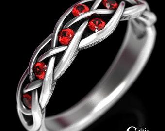 Celtic Wedding Ring, Sterling Ruby Wedding Ring, Ruby Celtic Wedding Band, Womans Wedding Band, Elf Ring, Infinity Wedding Band, 764
