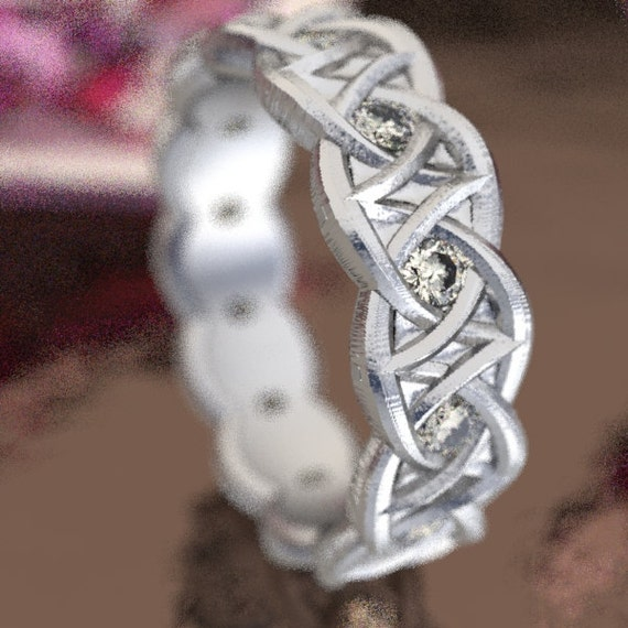 Celtic Moissanite Wedding Ring With Dara Knot Design in Sterling Silver, 10K 14K 18K Gold, Palladium, or Platinum  Made in Your Size CR-1036