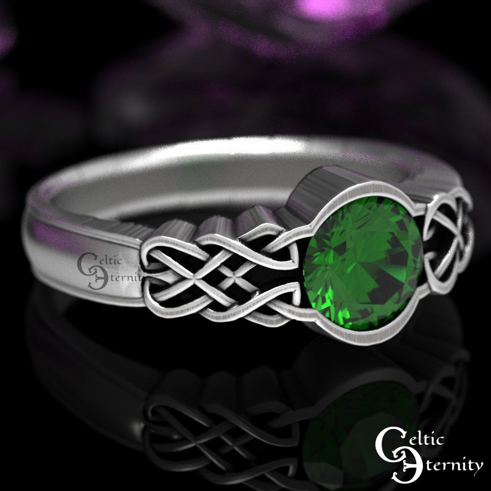 Celtic Emerald With Dara Knot Style Design in Sterling Silver Made in Your Size CR-1032