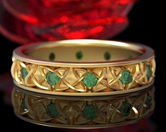 Endless Dara Knotwork Emerald Gold Celtic Wedding Ring, 10K 18K Platinum Celtic Ring, Emerald Celtic Wedding Ring, Bride Dara Knot Ring 1352