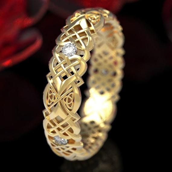 Gold & Moissanite Celtic Knot Ring, Heart Knot Gold Wedding Ring, Women's Moissanite Celtic Knot Ring, Celtic Gold 10K 14K 18K Platinum 1361