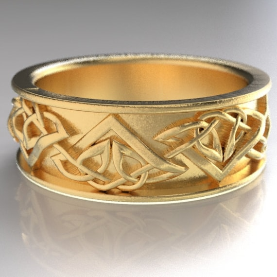 Celtic Wedding Ring With Tribal Triangle Knot Design, Trinity Knot Ring, Celtic Knot Ring in 10K 14K 18K Gold, Platinum, Custom Made CR-1122