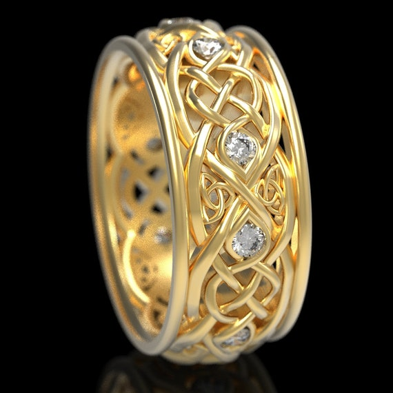 Infinity Wedding Band With Moissanites, Gold Celtic Ring, Unique Wedding Ring, Celtic Wedding Band, Made 10K 14K 18K Gold or Platinum 1096