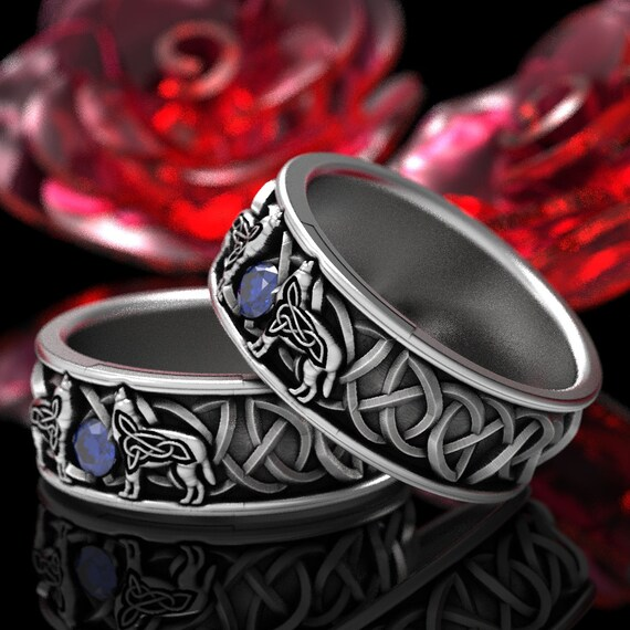 RESERVED FOR Regena 2 Payments for Set of 2 Sterling Silver Celtic Wolf Ring with Sapphire, Wolf Wedding Band, Custom Size 1170