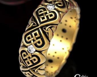 Moissanite Wedding Band, Gold Celtic Ring, Heart Wedding Ring, Unique Moissanite Ring, Gold Wedding Ring, Platinum Wedding Ring, 1497
