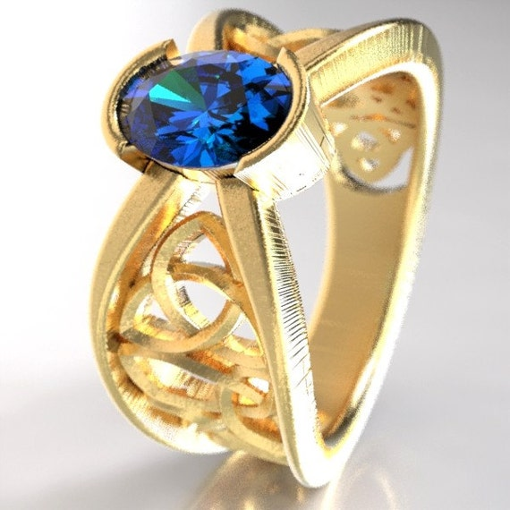 Gold Celtic Wedding Ring With Blue Sapphire and Trinity Knotwork Design in 10K 14K 18K Palladium or Platinum, Made in Your Size Cr-1023