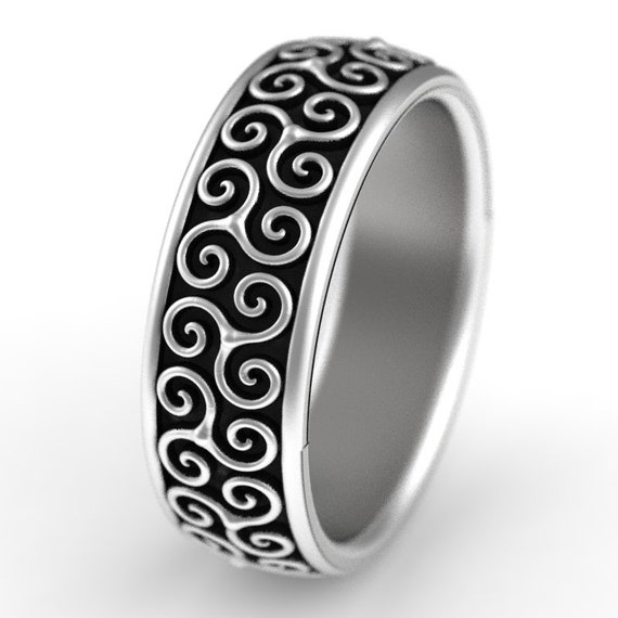 Celtic Wedding Ring With Triskele Design in Sterling Silver, Made in Your Size CR-1252