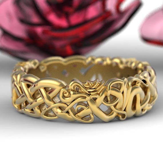 Gold Celtic Dragon Wedding Ring, Womens Wedding Band, Norse Wedding Ring, Viking Wedding Ring, 10K 14K 18K Gold or Platinum 1191