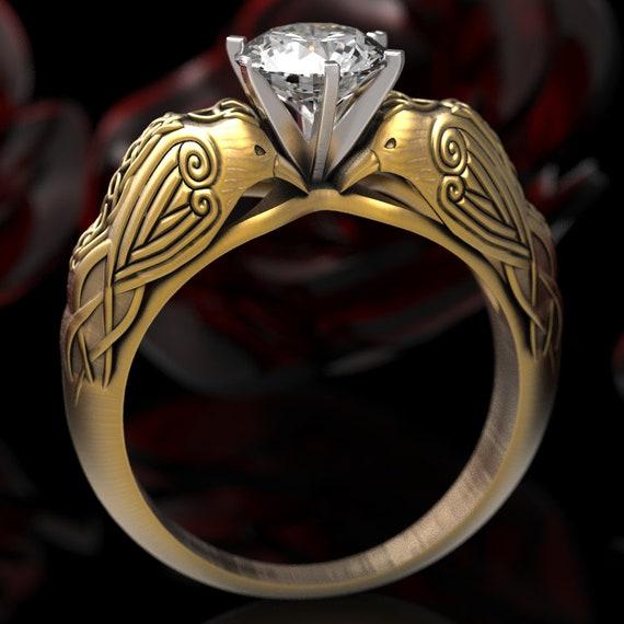 Gold Celtic Raven Solitaire 1Ct Moissanite Ring, Raven Engagement Ring, Irish Wedding Ring, 10K 14K 18K Gold, or Platinum, Custom Size 6008