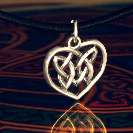 Celtic Sterling Silver Irish Woven Heart Pendant with Berwick Knot CP-66