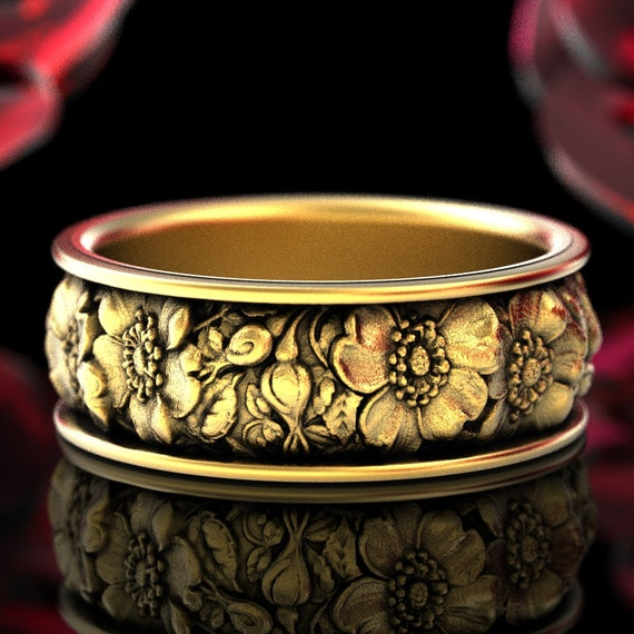 Rose Bouquet Ring, Floral Ring, Rose Wedding Band, 10K 14K 18K Gold or Platinum Rose, Nature Inspired Wedding Ring, Custom Size 5020