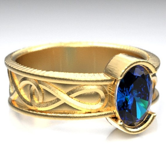 Gold Celtic Wedding Ring With Blue Sapphire and Infinity Symbol Design in 10K 14K 18K or Palladium, Made in Your Size Cr-312