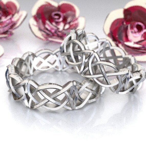 Celtic Wedding Ring Set With Pretzel Triangle Cut-Through Knotwork Design in Sterling Silver, Made in Your Size CR-50