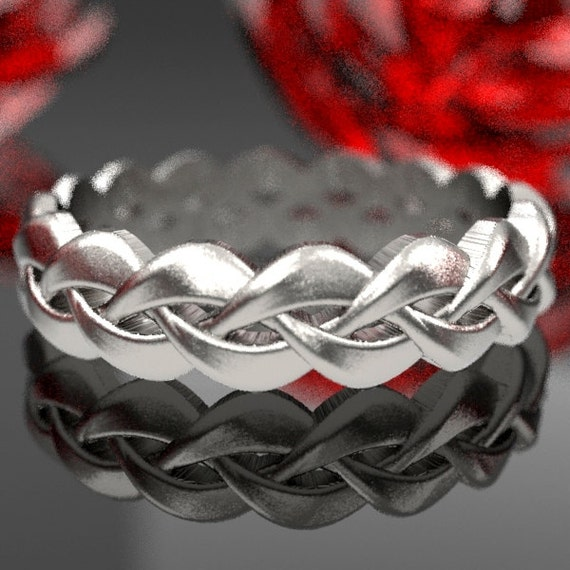 Celtic Braid Sterling Silver Ring, Woven Wedding Ring Made in Your Size CR-1058