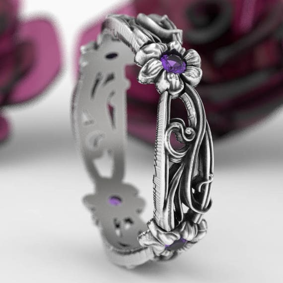 Art Nouveau Sterling Silver Floral Design Ring with Amethyst, Made in Your Size CR-5018