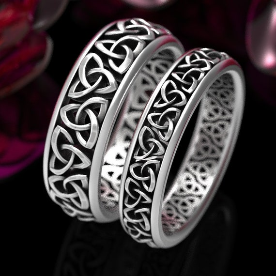 Celtic Wedding Ring Set, His & Hers Matching Rings, Celtic Knot Design in Sterling Silver, Matching Wedding Band Set Made in Your Size 200