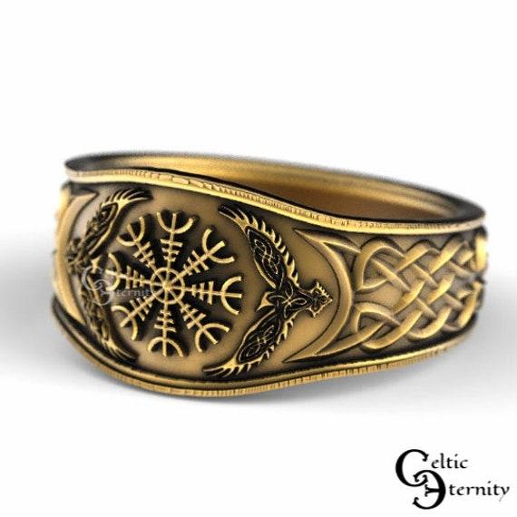 Oden's Ravens & Helm of Awe Ring, Mens Wedding Band, Raven Jewelry, Odin Viking Ring, 10K 14K 18K Gold Platinum, Pagan Magic Ring 1160