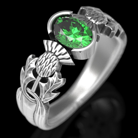 Thistle Engagement Ring, Sterling Silver Emerald Ring, Scottish Solitare, Oval Emerald Nature Inspired Engagement Ring 5062