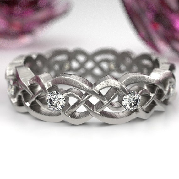 Eternity Celtic Infinity Band with Moissanites made in Sterling Silver, 10K 14K 18K Gold, Palladium, or Platinum  Made in your size CR-1044