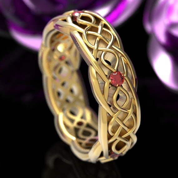 Gold Celtic Wedding Ring With Cut-Through Infinity Symbol Pattern & Ruby Stones in 10K 14K 18K Gold or Platinum Cr-1049