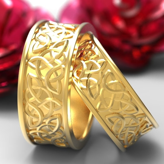 Celtic Wedding Ring Set With Raised Relief Knotwork Design in 10K 14K 18K Gold, Palladium or Platinum Made in Your Size CR-66