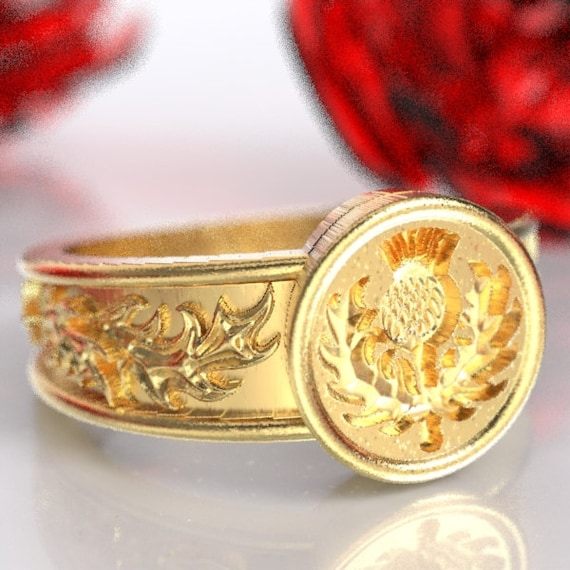 Gold Thistle Signet Ring with Leaves Wax Seal Scottish Ring Design in 10K 14K 18K or Platinum, Made in Your Size CR-5049