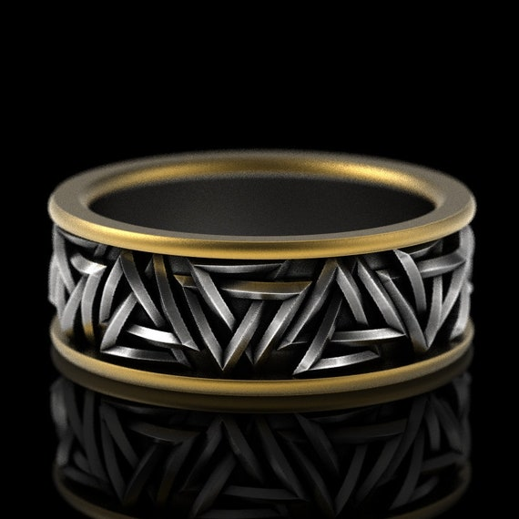 RESERVED FOR Sheila Two Payments for 2-Tone Solid Valknut Knot Viking 10K Gold & Silver Ring, Sterling Rune Ring, 1186
