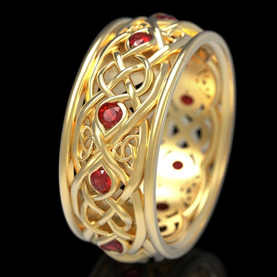 Infinity Wedding Band With Rubies, Gold Celtic Ring, Unique Wedding Ring, Celtic Wedding Band, Made 10K 14K 18K Gold or Platinum 1096