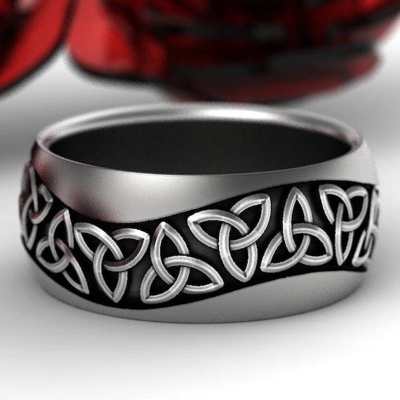 Celtic Wedding Ring With Trinity Knot Design in Sterling Silver, Wide Wedding Band, Made in Your Size CR-196
