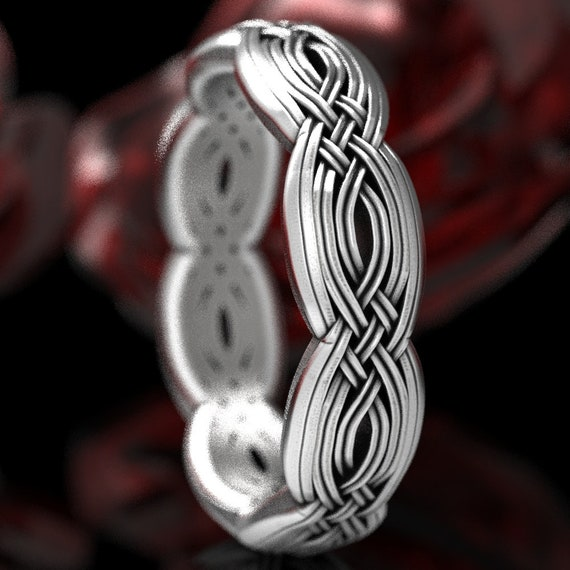 Sterling Silver Celtic Knot Ring, Unique Wedding Band, Braided Wedding Band, Celtic Wedding, Celtic Eternity Ring,  Made in Your Size 1284