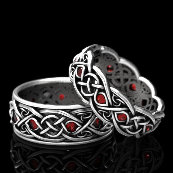 Infinity Wedding Band Set With Rubies, 925 Sterling Silver Celtic Ring, Celtic Wedding Band, Handcrafted Size CR1096 / CR1052