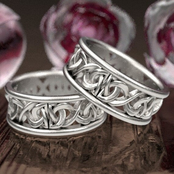 Silver Wedding His and Hers Ring Set With Celtic Woven Dara Knotwork Design in Sterling Silver, Made in Your Size CR-5008