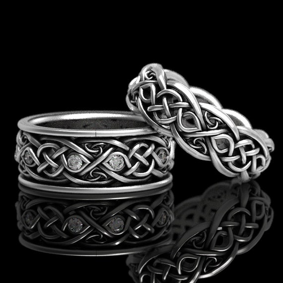 Infinity Wedding Band Set With Moissanites, 925 Sterling Silver Celtic Ring, Celtic Wedding Band, Handcrafted Size CR1096 / CR1052
