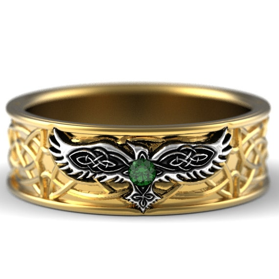 Celtic Raven Ring with Emerald, Two-Tone Raven Wedding Band, Wedding Band, Raven Jewelry, 10K 14K 18K Gold, Custom Size 1161