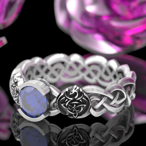 RESERVED FOR Renee 2 Payments for Celtic Ring with Infinity Pattern in Sterling Silver with Dragon Shields and Sapphire Stone, CR-1044