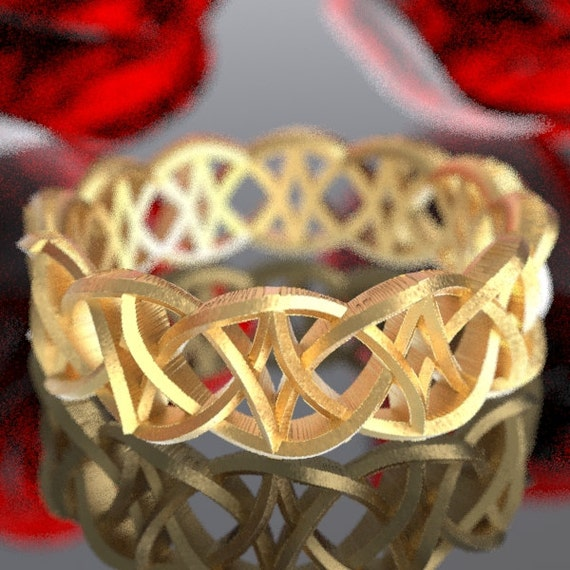 Gold Celtic Dara Knot With Braided Cut-through Knotwork Design in 10K 14K 18K or Platinum, Made in Your Size Cr-99