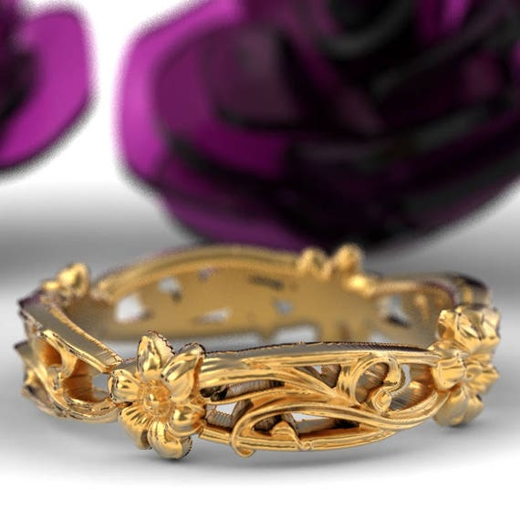 Art Nouveau Floral Wedding Design Ring Gold Design in 10K 14K 18K Palladium or Platinum, Made in Your Size Cr-5018