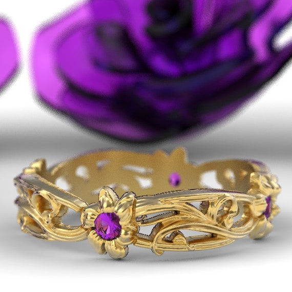 Art Nouveau Floral Design Wedding Ring Gold with Amethyst Design in 10K 14K 18K or Platinum, Made in Your Size Cr-5018