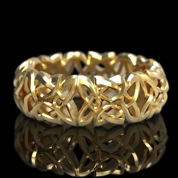 Gold Celtic Cut-Through Dara Knot Design in 10K 14K 18K Gold or Platinum, Made in Your Size CR-1079
