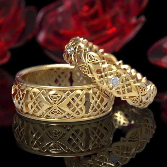 Celtic Heart Knot Wedding Set, Gold Lovers Knot Ring Set, Woven Moissanite Heart Knot Ring Set, 10K 14K 18K Gold or Platinum 1361 1362