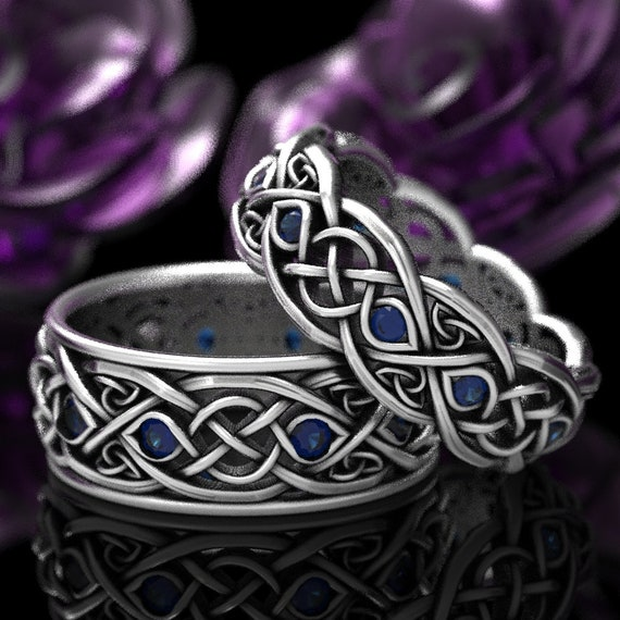 Infinity Wedding Band Set With Sapphires, 925 Sterling Silver Celtic Ring, Celtic Wedding Band, Handcrafted Size CR1096 / CR1052
