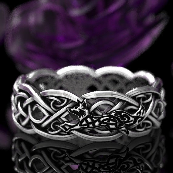 Infinity Wedding Band with Celtic Fox, 925 Sterling Silver Celtic Knot Ring, Unique Wedding Ring, Celtic Fox Jewelry, Custom Size 1052f