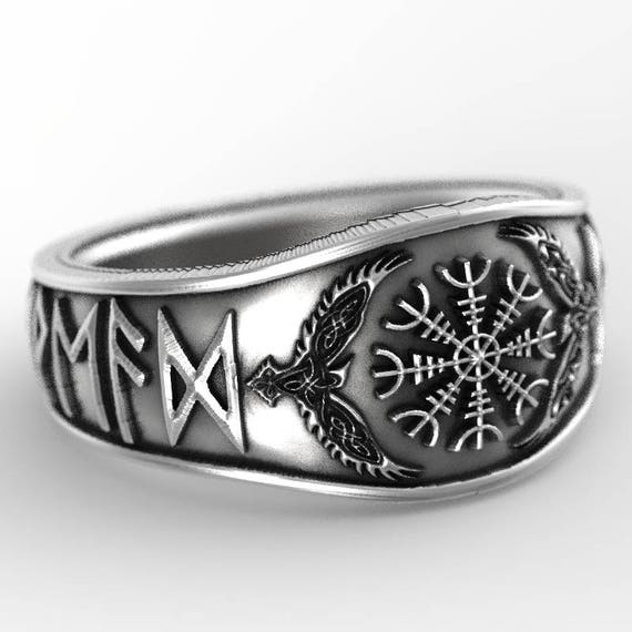 RESERVED FOR Abigayle Custom Oden's Ravens & Helm of Awe Rune Ring, Mens Wedding Band, Raven Jewelry, Odin Viking Ring, Sterling Silver 1160